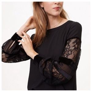 NWT Loft Black Sheer Lace Velvet Sleeves Size M